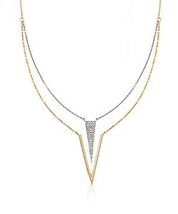 .12 ct. t.w. Diamond Double Geometric Necklace in 14kt Two-Tone Gold