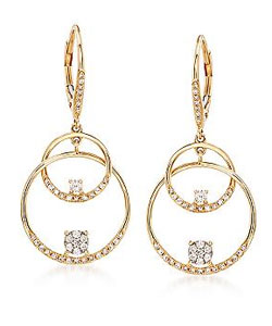 .46 ct. t.w. Diamond Double Circle Drop Earrings in 14kt Yellow Gold