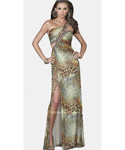 La Femme Animal Print Pleated Evening Gown