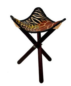 Animal Print Leather African Safari Stool