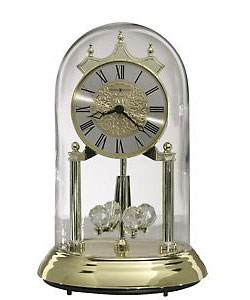 Glass-Domed Brass-Finish Anniversary Clock