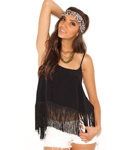 Open Back Fringe Top in Black