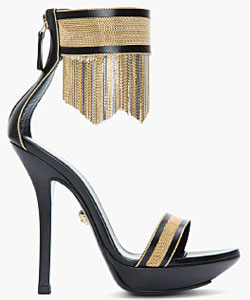 Black & Gold Leather Fringed Ankle-Strap Sandal