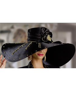 Dramatic Oversized Black Hat with Gold Accents