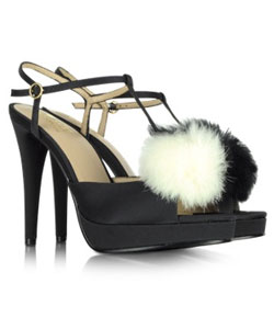Black Satin Sandal with Fur