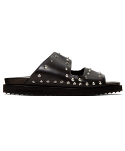 Black Studded Slide Sandals