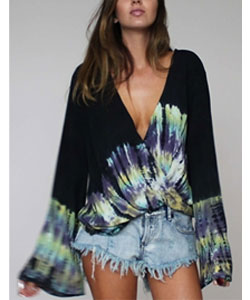 Blu Moon Hayley Top in Black Tie Dye