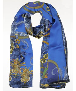 Ornamental and Pattern Printed Satin Silk Stole - Blue