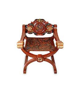 Decorative pattern cedar and leather chair