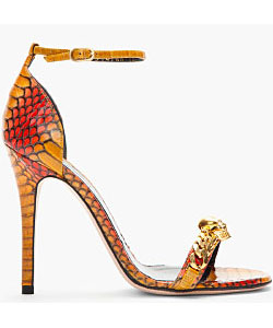 Burnt Yellow And Red Cobraskin Heeled Sandals