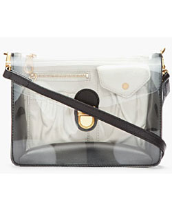 Black Cross Body Clearly Colorblocked Messenger Bag