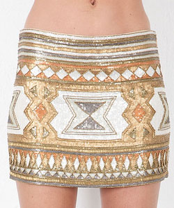 Embellished Mini Skirt in Neutral Multi