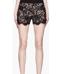 Black And Beige High_waisted Embroidered Lace Short