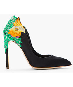 Black And Green Satin Embroidered Birdie Heels