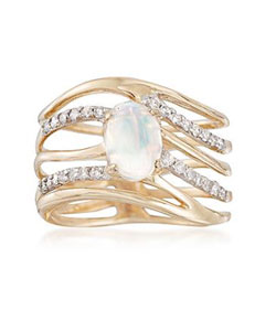 Ethiopian Opal and .26 ct. t.w. Diamond Multi-row Ring in 14kt Yellow Gold