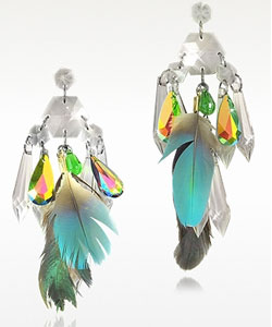 Stainless Steel Crystals and Feather Drop Earrings