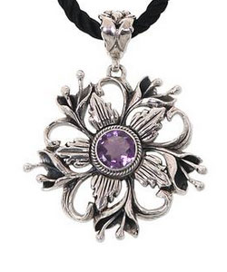 Floral Theme Sterling Silver and Amethyst Necklace