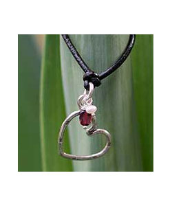 Heart Shaped Silver and Garnet Pendant Necklace
