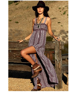 Tie Back Maxi Dress in Mauve Gypsy