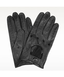 Black Italian Leather Driving Gloves