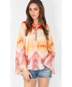 Kira Top with Bell Sleeves in Sunset Orange