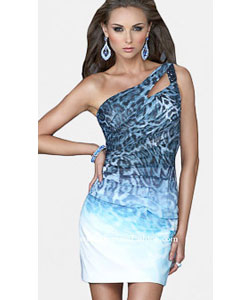 La Femme Blue Multi One Shoulder Cocktail Dress