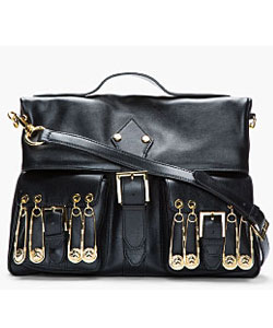 Black Leather Gold Pin Detailed Shoulder Bag