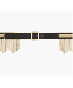 Black leather microchain-Fringed Skinny Belt