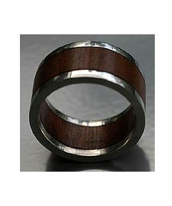 Men's wood and sterling silver ring