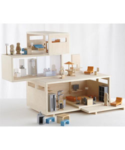 Girls Dollhouse: Modern Dollhouse and Furniture Set