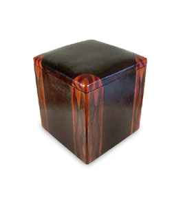 Wood and leather decorative ottoman