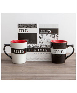 Mr. & Mrs. - Mugs, Love Notes, and Coupon Book Set.