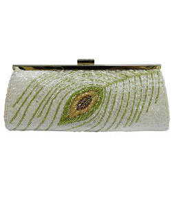 Beaded Peacock Pattern Clutch