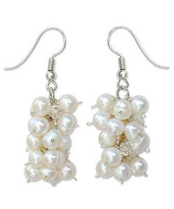 Sweet White Grapes - Pearl cluster earrings.