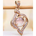 JeGem Rose Gold Over Sterling Silver Premium Grade Sweet Pink African Rose Quartz Pendant Jewelry