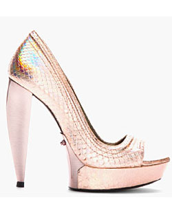 Pink Leather Hologram Peep Toe Pumps