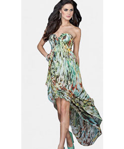 Multi Print Chiffon Evening Dress