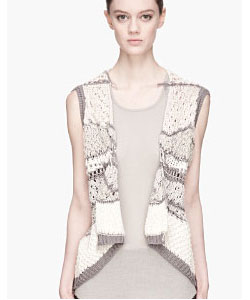 Ivory And Grey Open_knit Psyco Sleeveless Wrap