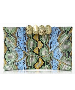 Python Leather Knuckle Clutch