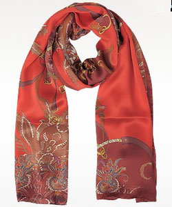 Ornamental and Pattern Printed Satin Silk Stole - Red