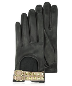 Rockstud Two-Tone Leather Gloves