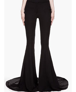 Black Silk Flared Train Runway Trousers