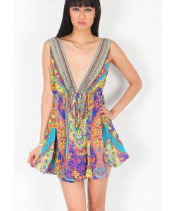 Sarah Courtesan Short V Neck Drawstring Dress in Multi