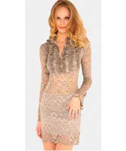 Long Sleeves Sheer Lace Dress by Sentimental NY