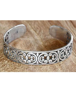 Sterling silver cuff bracelet, 'Indonesian Lace'