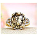 JeGem 14k Yellow Gold Smoky Quartz, Diamond Ring Jewelry