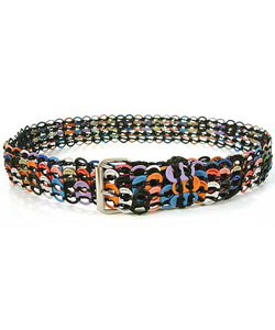 Soda pop-top belt, 'Multicolor Armor Chain Mail in Black'