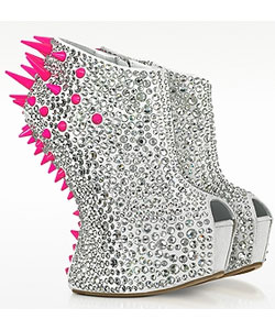 Neon Resin Spike and Crystal Suede Wedge