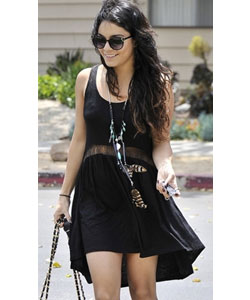 Black sheer lace panel midriff dress