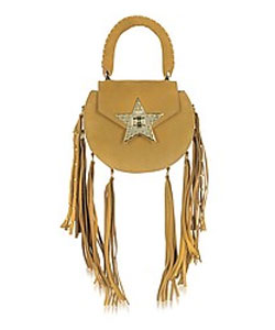 Mimi Fringe Cognac Nubuck Shoulder Bag with Star